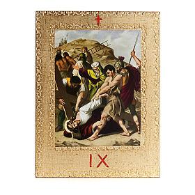 Via Crucis 15 stazioni: tavole dorate in legno s11