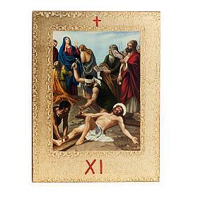 Via Crucis 15 stazioni: tavole dorate in legno s13