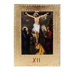 Via Crucis 15 stazioni: tavole dorate in legno s14