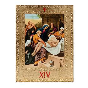 Via Crucis 15 stazioni: tavole dorate in legno s16
