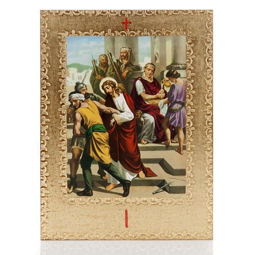 Via Crucis 15 stazioni: tavole dorate in legno 1