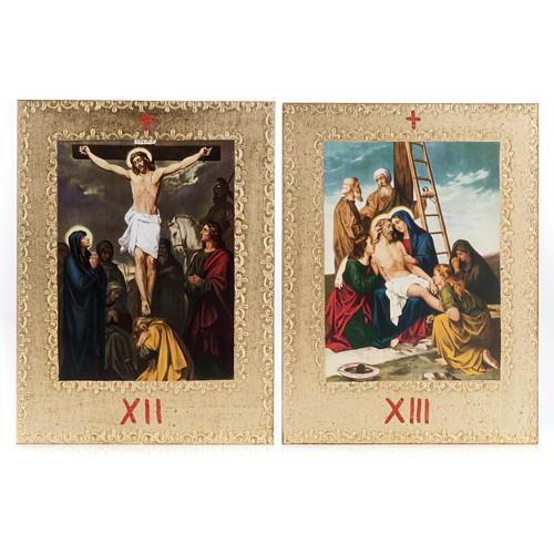 Via Crucis 15 stazioni: tavole dorate in legno 9