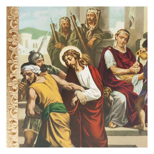 Via Crucis 15 stazioni: tavole dorate in legno 2