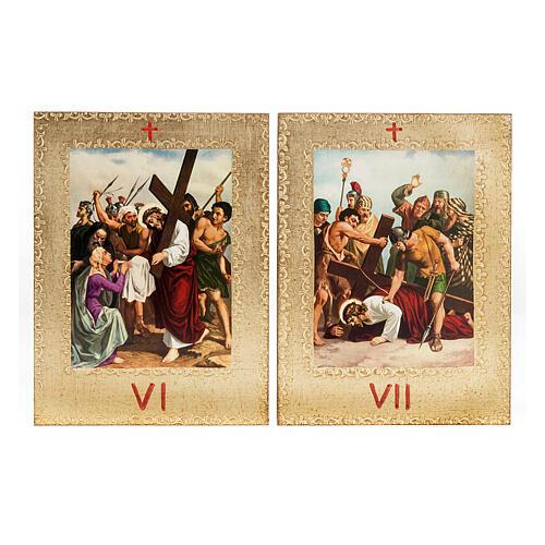 Via Crucis 15 stazioni: tavole dorate in legno 6
