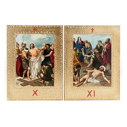 Via Crucis 15 stazioni: tavole dorate in legno 8