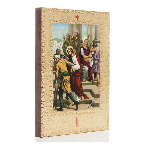 Via Crucis 15 stazioni: tavole dorate in legno 3