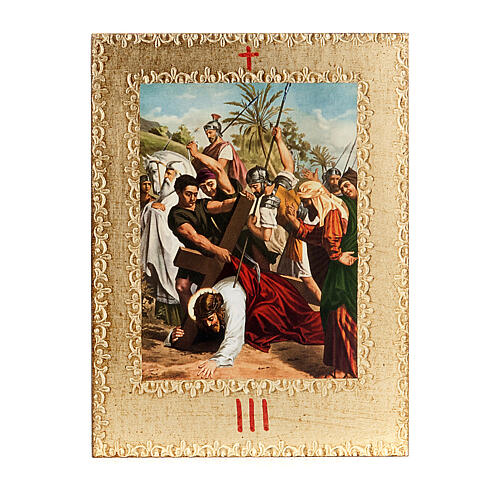 Via Crucis 15 stazioni: tavole dorate in legno 5