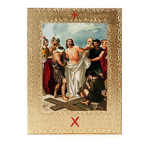 Via Crucis 15 stazioni: tavole dorate in legno 12