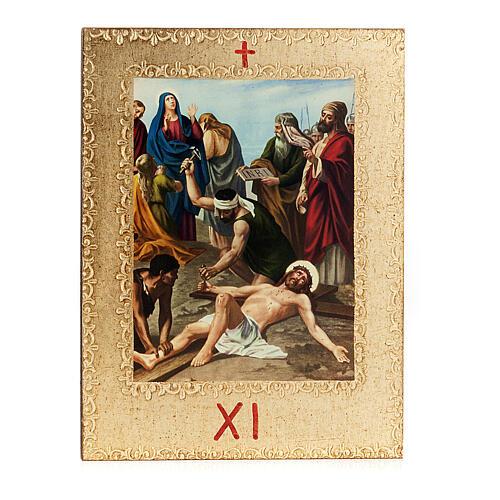 Via Crucis 15 stazioni: tavole dorate in legno 13