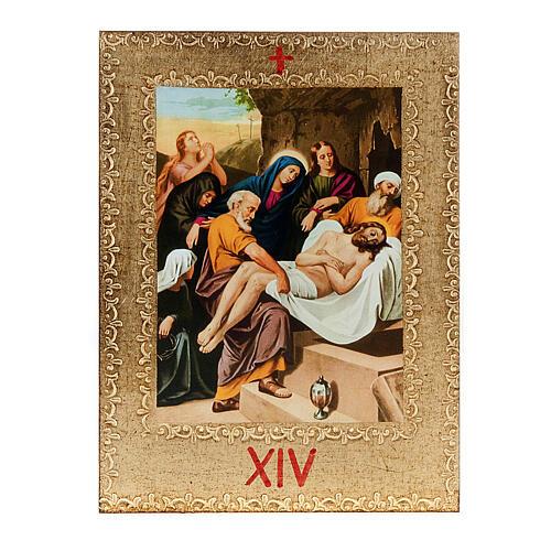 Via Crucis 15 stazioni: tavole dorate in legno 16