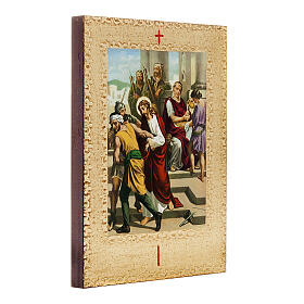 Way of the Cross printed on wood framed in gold, 15 stations s3