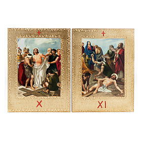 Way of the Cross printed on wood framed in gold, 15 stations s8