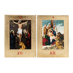 Way of the Cross printed on wood framed in gold, 15 stations s9