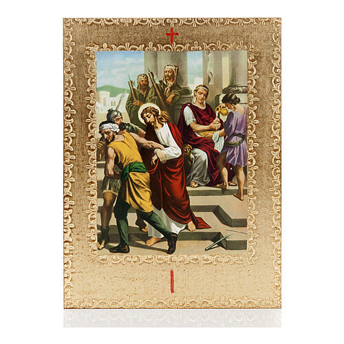 Way of the Cross printed on wood framed in gold, 15 stations 1