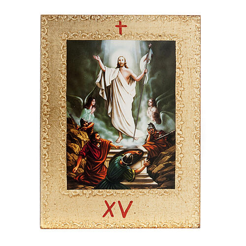 Way of the Cross printed on wood framed in gold, 15 stations 17