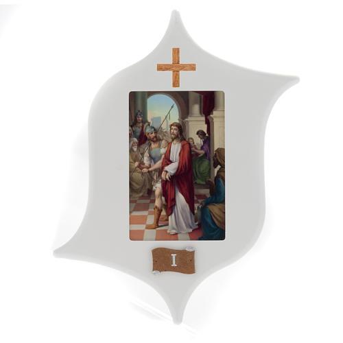 Via Crucis 15 estaciones: tablas estrella lacada madera 1