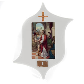 Via Crucis 15 stazioni: tavole legno a stella laccate s1
