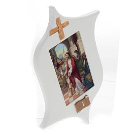 Via Crucis 15 stazioni: tavole legno a stella laccate s2