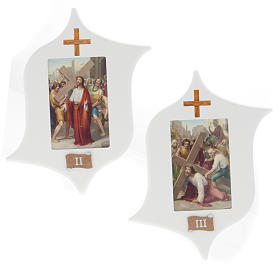Via Crucis 15 stazioni: tavole legno a stella laccate s4