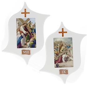 Via Crucis 15 stazioni: tavole legno a stella laccate s7