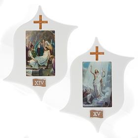 Via Crucis 15 stazioni: tavole legno a stella laccate s10