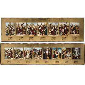 Way of the Cross: 15 Stations of the Cross on 2 wooden boards