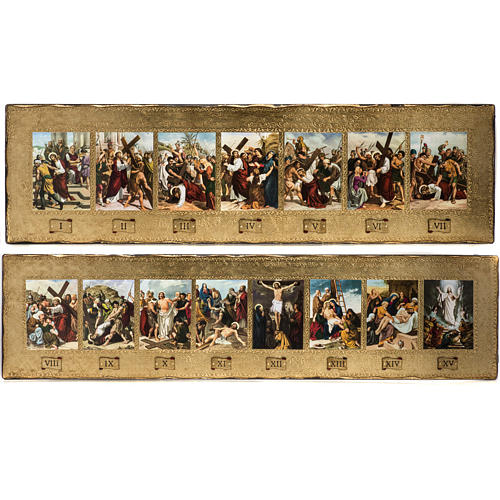 15 Stations of the Cross on 2 wooden boards 1
