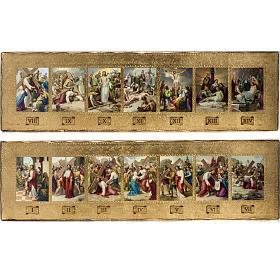 Vía Crucis 14 estaciones en 2 tablas madera s1