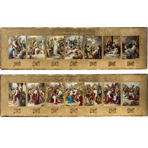 Vía Crucis 14 estaciones en 2 tablas madera 1