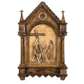 Via Crucis 15 stazioni 63x39 cm pasta di legno s1