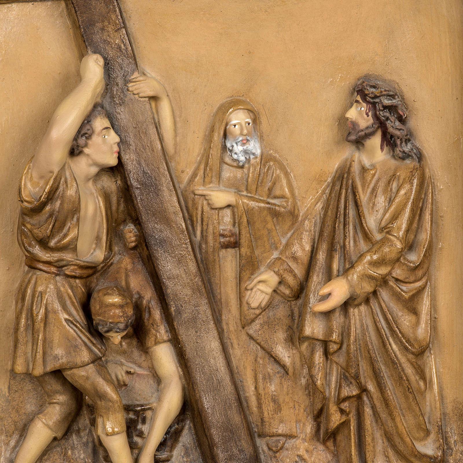 Droga Krzyżowa 15 stacji 63x39 cm ścier drzewny 4
