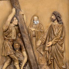 Droga Krzyżowa 15 stacji 63x39 cm ścier drzewny s2