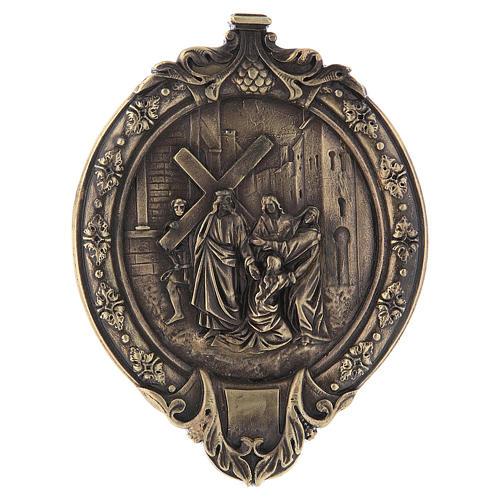 Via Crucis 15 stazioni pasta di legno e resina bagno bronzo 5