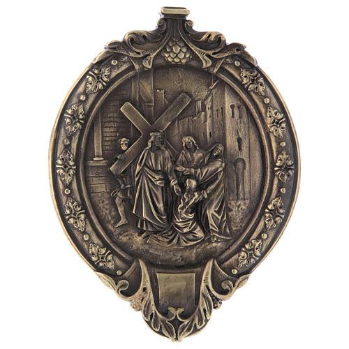 Via Crucis 14 stazioni pasta di legno e resina bagno bronzo 5