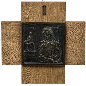 Via Crucis 15 stazioni pasta di legno su croce s1