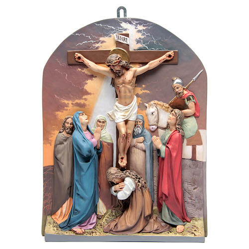 15 Stations of the cross in relief in wood paste 15
