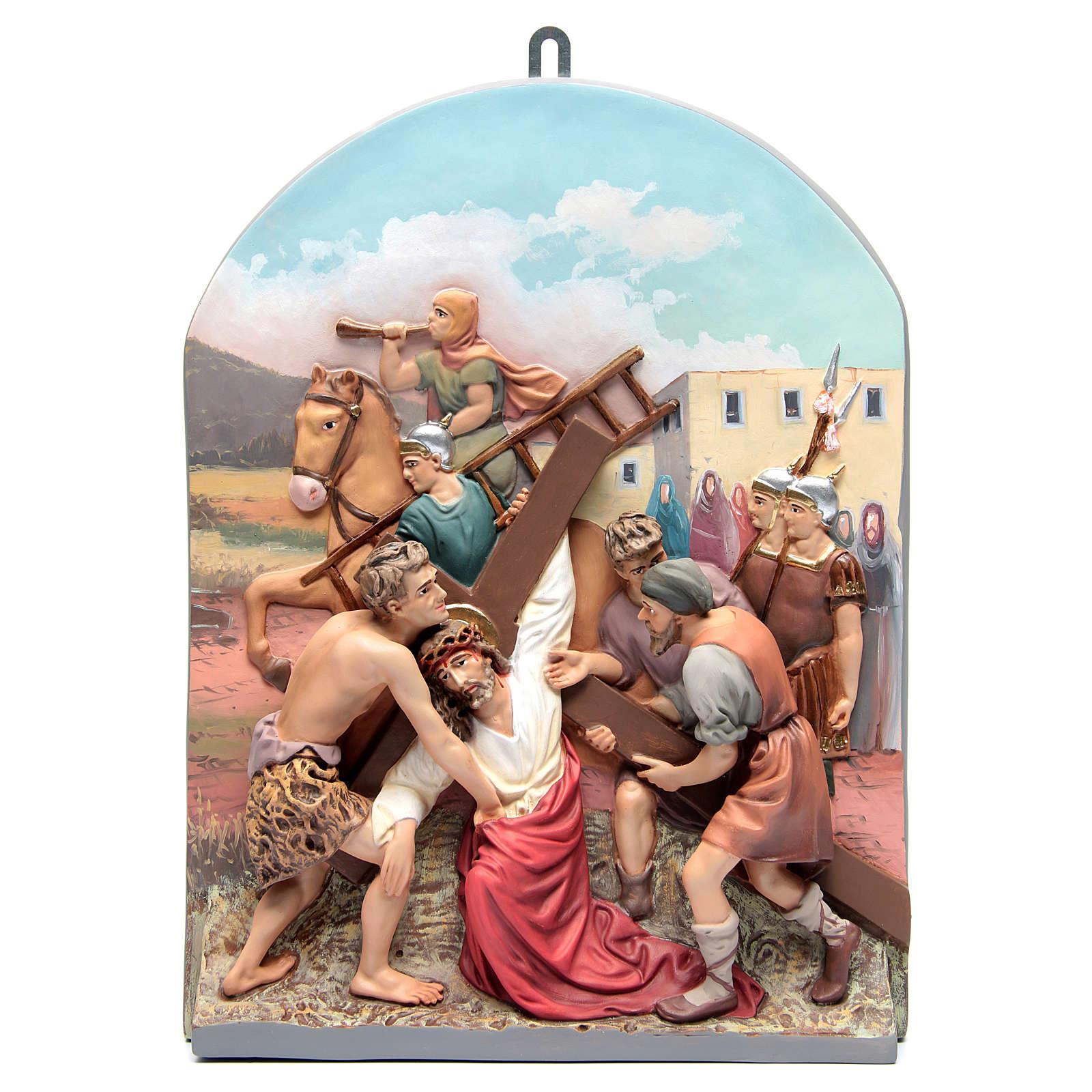 Vía Crucis 15 estaciones clásica en relieve pasta de madera 4