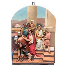 Vía Crucis 15 estaciones clásica en relieve pasta de madera s1