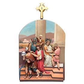 Vía Crucis 15 estaciones clásica en relieve pasta de madera s4