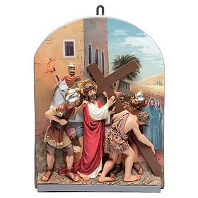 Vía Crucis 15 estaciones clásica en relieve pasta de madera s5