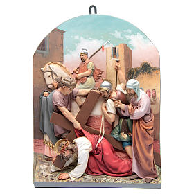 Vía Crucis 15 estaciones clásica en relieve pasta de madera s6