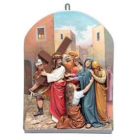 Vía Crucis 15 estaciones clásica en relieve pasta de madera s7