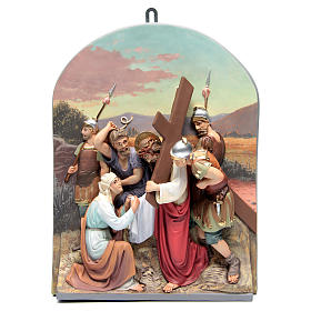 Vía Crucis 15 estaciones clásica en relieve pasta de madera s9