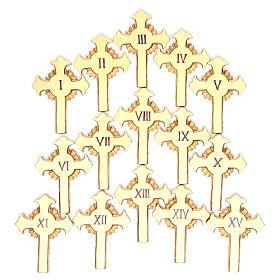 Vía Crucis 15 estaciones clásica en relieve pasta de madera s20