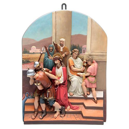 Vía Crucis 15 estaciones clásica en relieve pasta de madera 1