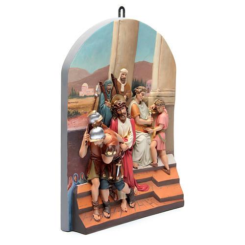 Vía Crucis 15 estaciones clásica en relieve pasta de madera 2