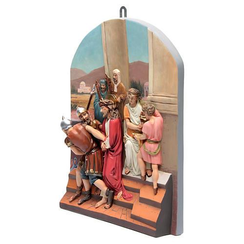 Vía Crucis 15 estaciones clásica en relieve pasta de madera 3