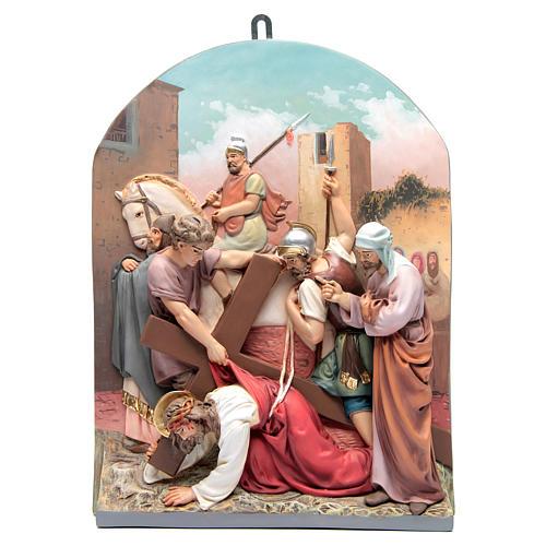 Vía Crucis 15 estaciones clásica en relieve pasta de madera 6