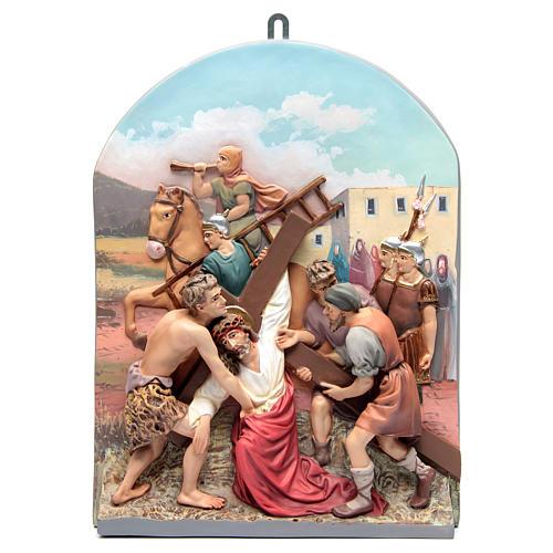 Vía Crucis 15 estaciones clásica en relieve pasta de madera 8