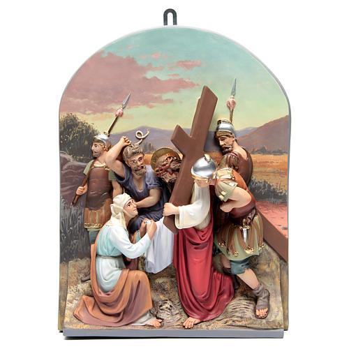 Vía Crucis 15 estaciones clásica en relieve pasta de madera 9